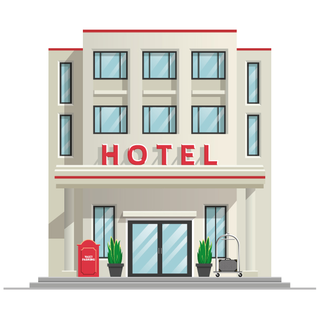 The front of a hotel illustrating Net Zero for hospitality