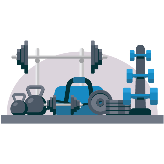 A collection of dumbbells and weights to illustrate Net Zero for leisure facilities